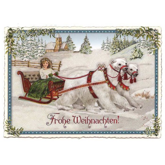 Polar Bear Sleigh Large Postcard ~ Germany