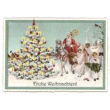 Aqua Tree and Santa Large Postcard ~ Germany