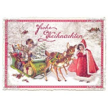 Deer with Sleigh Large Postcard ~ Germany