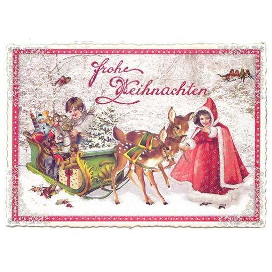 Deer with Sleigh Large Postcard ~ Germany
