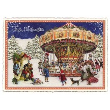 Christmas Carousel Large Postcard ~ Germany