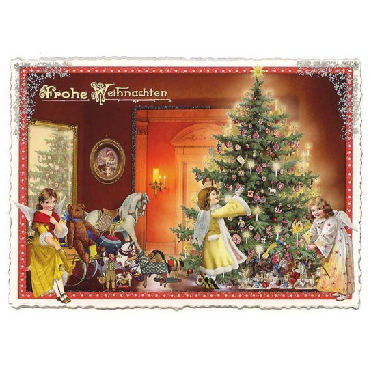 Angels Decorating the Tree Large Postcard ~ Germany