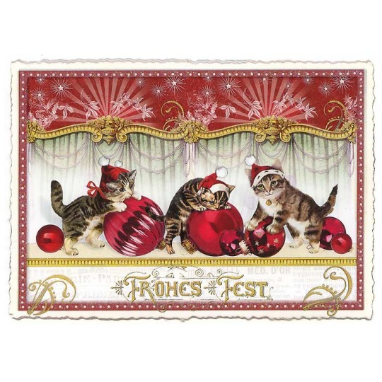 Christmas Cats Large Postcard ~ Germany