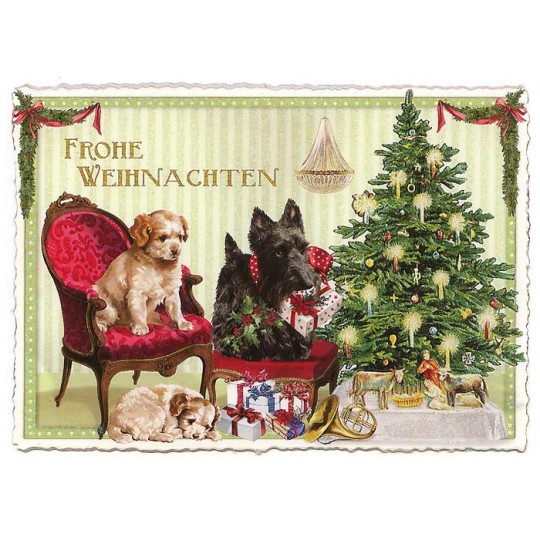 Christmas Dogs Large Postcard ~ Germany