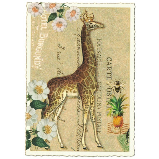 Large Fancy Giraffe Collage Postcard ~ Germany