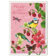 Birds and Berries Happy Birthday Large Postcard ~ Germany