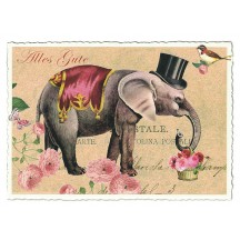 Circus Elephant Glittered Postcard ~ Germany