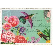Hummingbird Flower Collage Large Postcard ~ Germany