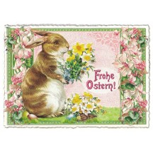 Large Bunny with Flowers Easter Postcard ~ Germany