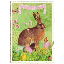 Large Brown Bunny and Eggs Easter Postcard ~ Germany