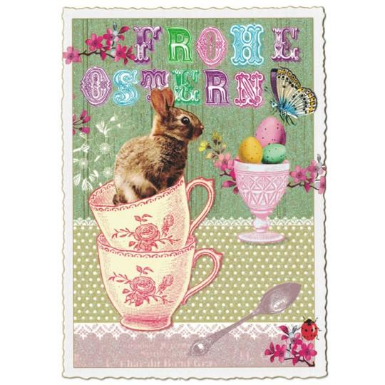 Bunny Teacup Easter Postcard ~ Germany