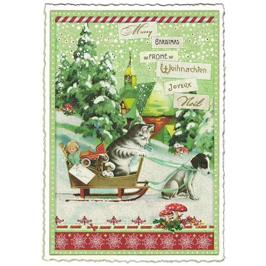 Christmas Sleigh Large Postcard ~ Germany