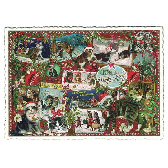 Christmas Cat Collage Large Postcard ~ Germany