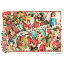 Large Vintage Valentine Girls Valentine Postcard ~ Germany