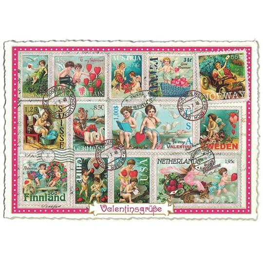 Large Vintage Valentine Stamps Valentine Postcard ~ Germany