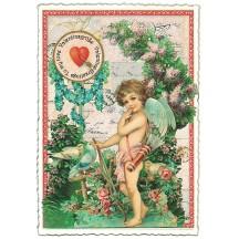 Large Valentine Greetings Angel with Flowers Valentine Postcard ~ Germany