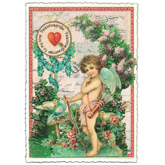 Large Valentine Greetings Angel with Flowers Valentine Postcard ~ Germany