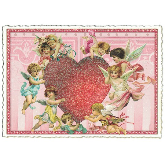 Large Angels with Heart Valentine Postcard ~ Germany