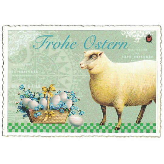 Lamb and Eggs Easter Postcard ~ Germany