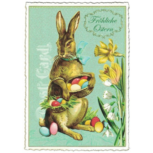 Large Brown Bunny and Flowers Easter Postcard ~ Germany