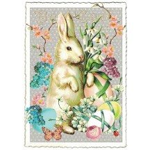 Large White Bunny and Flowers Easter Postcard ~ Germany