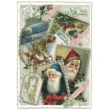 Christmas Santa and Reindeer Collage Large Postcard ~ Germany