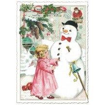 Angel with Snowman Christmas Postcard ~ Germany