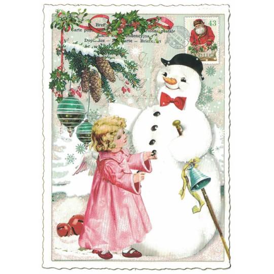 Angel with Snowman Christmas Postcard ~ Germany