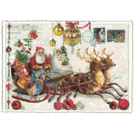 Santa in Sleigh Large Christmas Postcard ~ Germany