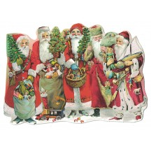 Classic Santas Large Die-Cut Christmas Postcard ~ Germany