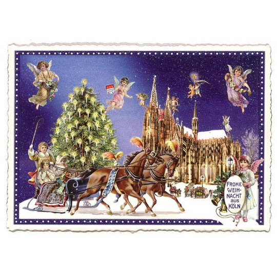 Koln Christmas Greetings Large Postcard ~ Germany