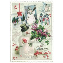 Snowman Collage Large Christmas Postcard ~ Germany