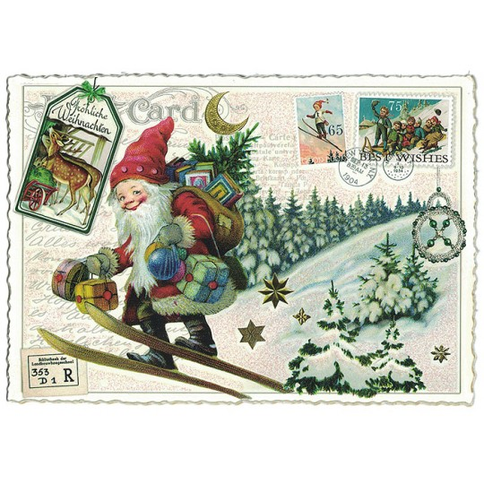 Skiing Gnome Collage Large Christmas Postcard ~ Germany