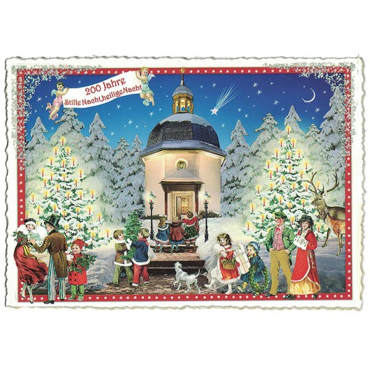 Silent Night Large Christmas Postcard ~ Germany