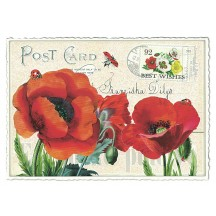 Red Poppies Collage Postcard ~ Germany