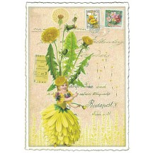 Dandelion Flower Girl Collage Postcard ~ Germany
