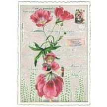 Pink Alstroemeria Flower Girl Collage Postcard ~ Germany