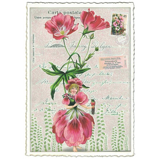 Pink Alstroemeria Flower Girl Collage Postcard ~ Germany