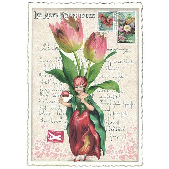 Tulip Flower Girl Collage Postcard ~ Germany