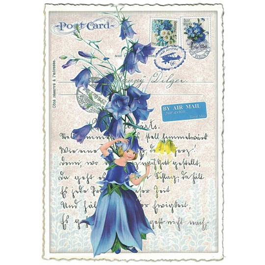 Campanula Flower Girl Collage Postcard ~ Germany
