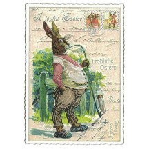 Gentleman Bunny Easter Postcard ~ Germany