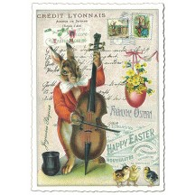 Bunny Musician Easter Postcard ~ Germany