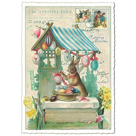 Bunny Egg Stand Easter Postcard ~ Germany