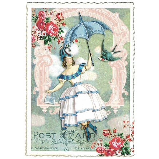 Victorian Girl with Parasol and Bird Collage Postcard ~ Germany