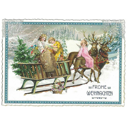 Festive Angel Sleigh Christmas Postcard ~ Germany