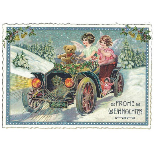 Angels Motor Coach Christmas Postcard ~ Germany