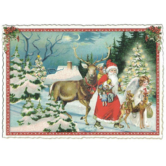 Santa with Deer Christmas Postcard ~ Germany