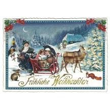 Festive Sleigh Christmas Postcard ~ Germany