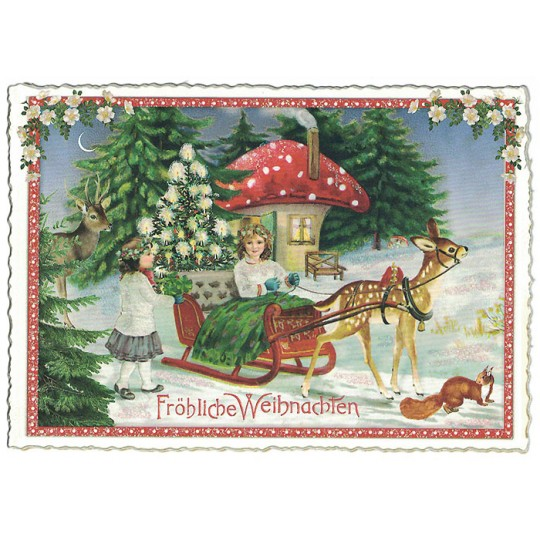 Mushroom House Christmas Postcard ~ Germany