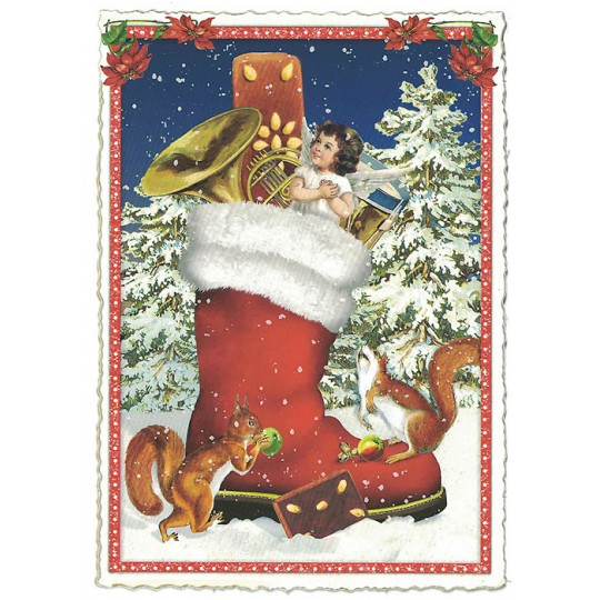 Large Red Boot Christmas Postcard ~ Germany